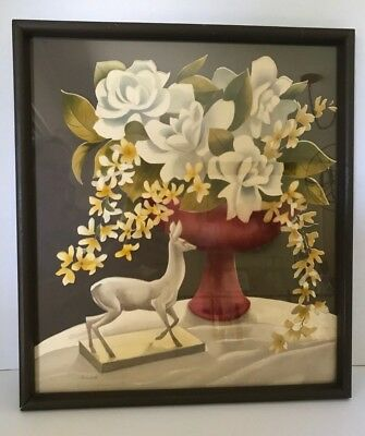 1940s Airbrush Watercolor White Yellow Flowers Painting Bernard Picture Co NYC