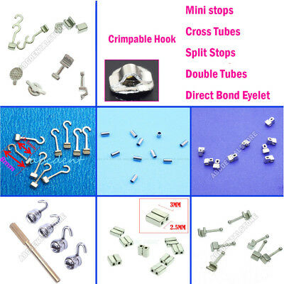 20Pcs Dental Crimpable Hook Sliding Spiral Stops Cross Tube Direct Bond Eyelets