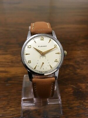 vintage Elgart mens watch, incabloc, swiss made, new leather strap