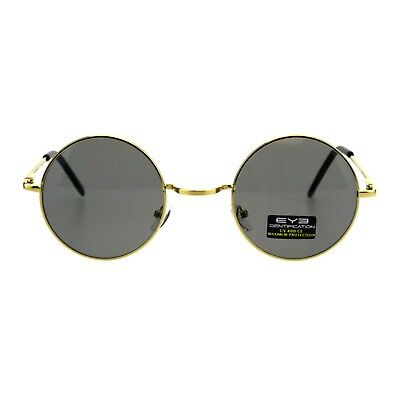 Gold Round Circle Frame Unisex Sunglasses Spring Hinge Color Lens UV 400