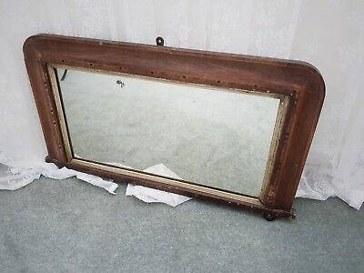 Antique Victorian Edwardian Large Over Mantle Parquetry Mirror