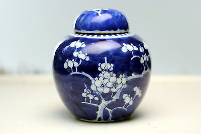 rare Chinese Porcelain  Ginger Jar Qing  Kangxi Double Circle Blue Makers Marks