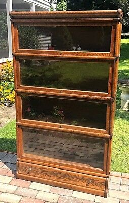 ANTIQUE OAK GLOBE WERNICKE 4 Stack Stacking Barrister Lawyer's Bookcase + DRAWER