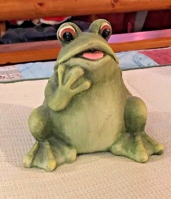 """Look- Large 6 1/2"""" X 7""""  Sitting And Pondering Frog"""