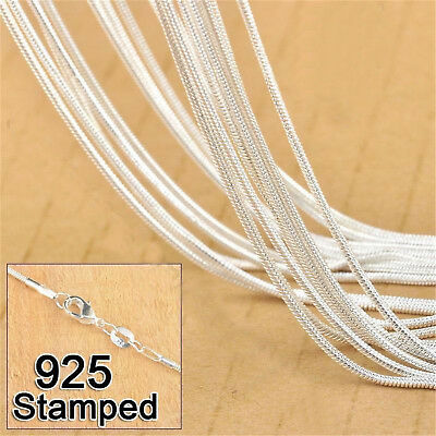 """Wholesale 5PCS 1MM SNAKE CHAIN 925STERLING SOLID SILVER JEWELRY NECKLACE 16""""-24"""""""
