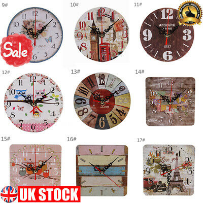 Small Vintage Wooden Wall Clock Shabby Chic Rustic Kitchen Home Antique Style
