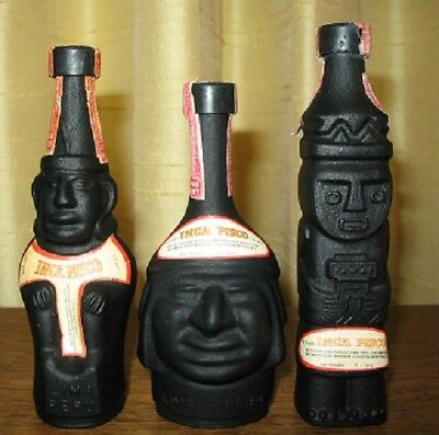 Vintage Inca Pisco Lima Peru Set Of 3 Liquor Mini Bottle Decanter Casa Ranuzzi