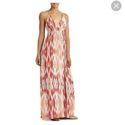 Athleta Women's Maxi Dress Faded Ikat Print Coral Sand Built in Bra Slit XS- New
