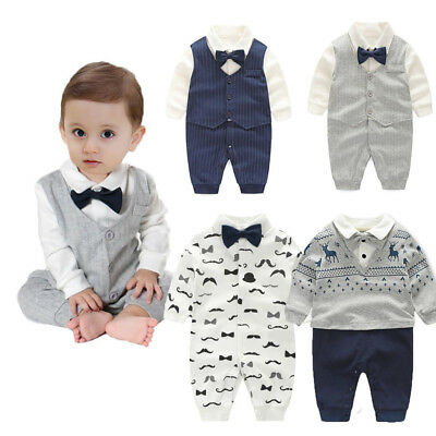1pc Baby clothes newborn infant boys cotton bodysuit party jumpers gentleman