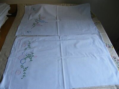 Gorgeous Two Fleece Cotton Hand Embroidered Pillowcases Lilac and Pink Rose