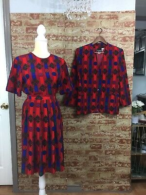 Vintage 3 PC Coordinating Suit set Blazer/Skirt/Blouse Abstract Art to Wear