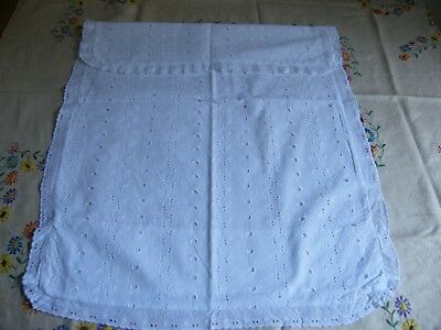 Vintage Broderie Anglais Pillowcase With Fold Over For Square Shape Pillow