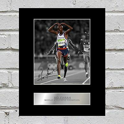 Mo Farah Signed Mounted Photo Display World and Olympic Champion