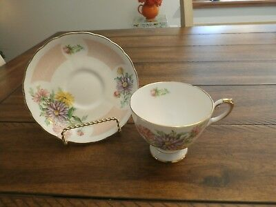 Birthday Flowers Tuscan Tea Cup And Saucer September Aster Bone China England