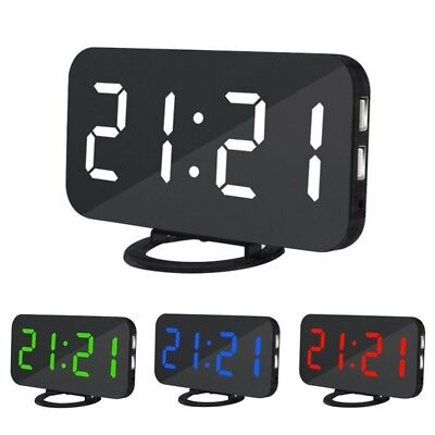 LED Digital Alarm Clock with Dual USB Port for Phone Automatic Adjust Brightness