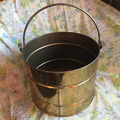 Vintage Large Old Brass English Brass Coal Firewood Bucket For Hearth England