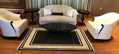 New Mini Sofa and Chairs in Ivory Marble fabric and CG coffee,End table and Rug