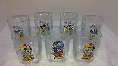 Walt Disney World Millennium 7 Glasses Magic/Animal Kingdom Epcot Mickey Lot