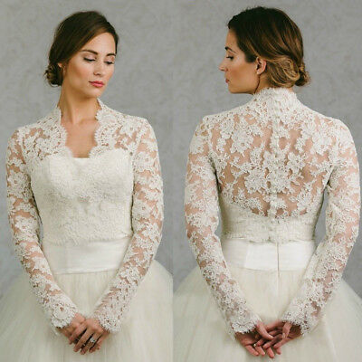 09e5f88df3b Lace Bridal Bolero Wraps White Shrugs Long Sleeve V-neck Wedding Jackets  Custom