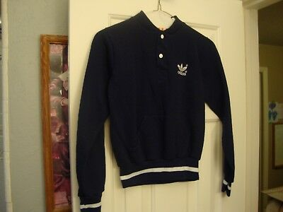Vintage 80's ADIDAS rap hip hop b boy Navy Blue Sweatshirt Youth Boys Kids M
