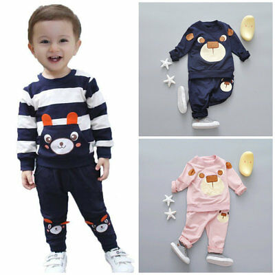 2pcs Toddler Kids baby boys girls tracksuit set pullover top+ pants outfits bear