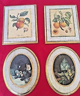 Wooden Vtg Small Fruit Motif Wall Décor.Italy Oval Square Gilded Edging Nostalgi
