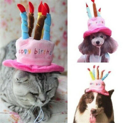 Cat Dog Birthday Hat with Cake Candles Design Party Costume Pink Hat Headwear *