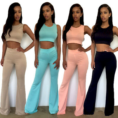 Women Fashion 2 Piece Casual Jumpsuit Crop Top Wide Leg Pants Set Playsuit club
