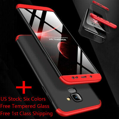 For Samsung Galaxy A6 J8 J4/J6 Plus 2018 Hybrid 360° Slim Cover+Tempered Glass