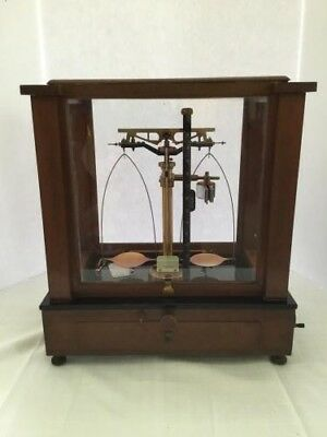 Antique Elmer & Amend Scale Laboratory Analytical Apothecary Wood Glass Case