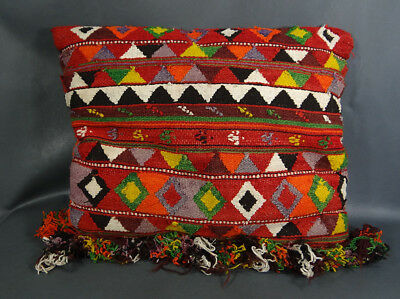 19c. Antique Ottoman Turkish Pillow Cushion Kilim Rug pattern Hand Woven Wool