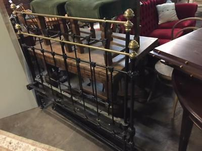 E34009 Vintage Black Cast Iron Double Size Bed Brass Industrial