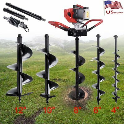 """52CC Gas Powered Post Hole Digger W/ 4"""" 6"""" 8"""" 10"""" Earth Auger Fence Engine Bits"""