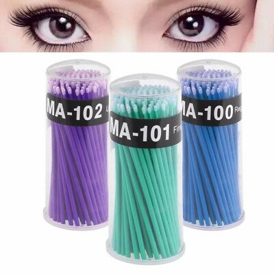 100x Micro Brush Disposable Microbrush Applicator Eyelash Lashes Extension Swabs