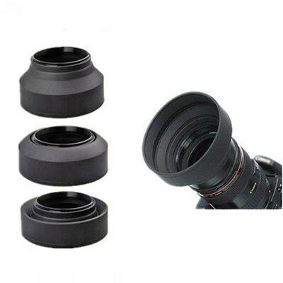 49mm Rubber Lens Hood 3 Stage Collapsible Fr Canon Nikon Sony Pentax DSLR Camera