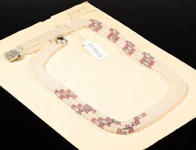 "Vintage 19"" Czech necklace frost crystal silvered crystal amethyst glass beads"