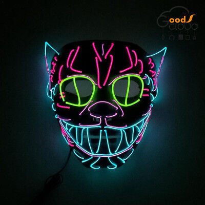 Cosplay Glowing LED Cat Mask Halloween Masquerade Party Masks Decoration Props