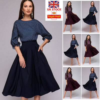 UK Women 3/4 Sleeve Skater Dress Ladies Evening Cocktail Party Swing Midi Dress