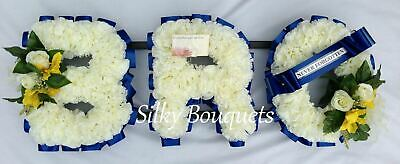 Artificial Silk Funeral Flower Bro 3 Letter Wreath Floral Tribute Name Memorial