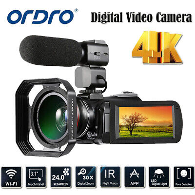 WiFi 4K ULTRA HD 24MP 30X ZOOM IR Digital Camera Video Camcorder DVR+0.39X Lens