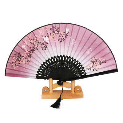 Butterfly Flower Bamboo Silk Chinese Japanese Pocket Foldable Hand Held Fan