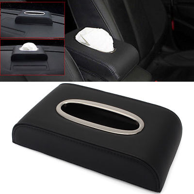 PU Black leather Car Tissue Napkin Box Cover Papers Holder Home Office Bar OD