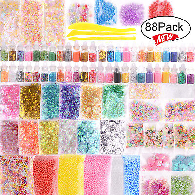 AU Slime Supplies Kit 88Pack Slime Beads Charms Slime Tool For DIY Slime Making