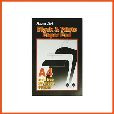 10 x RENO ART A4 BLACK & WHITE PAPER PAD 80gsm 60pg Design Pad Drawing Acid Free