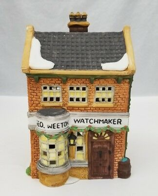 "Dicken's Village Series Geo Weeton Watchmaker Christmas 1988 Dept 56 4.5""x3.5""x7"