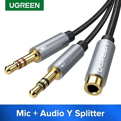 Ugreen Audio Headphone Mic Splitter Cable 3.5mm Female to 2 Dual Male Fr Speaker