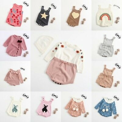 Infant Newborn Baby Boy Girl Knit Jumpsuit Romper Bodysuit Cotton Clothes Outfit