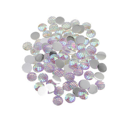 100pcs 12mm Fish Scale Resin Cabochon Flatback Craft Scarpbooking 2 Colors