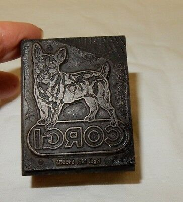 Vintage Corgi Printing Block Letter Press