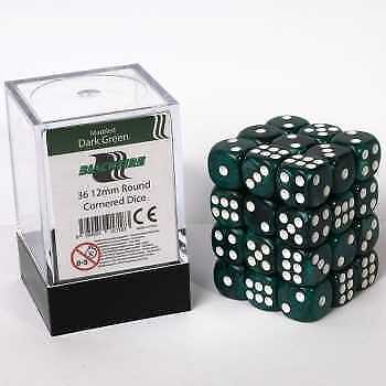 Blackfire Dice Cube - D6 36 Dice Set Marbled Dark Green, 12mm
